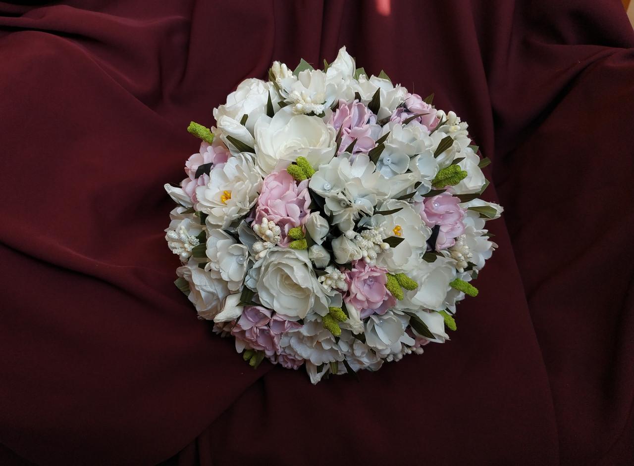 Свадебный букет-дублер молочный с розовым