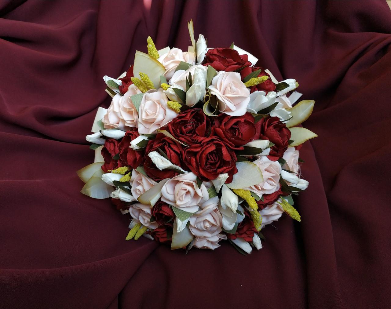 Свадебный букет-дублер пудровый с бордовым