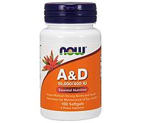 NOW Foods Vitamin A & D 10,000/400 IU 100 Softgels
