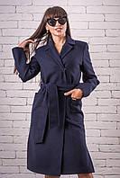 Женское демисезонное пальто 48-50 темно-синий