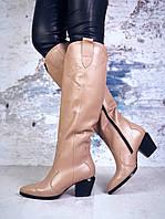 Зимние кожаные сапоги на каблучке 36-40 р латте