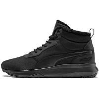 Черевики-кросівки чоловічі Puma ST Activate Mid WTR 369784 01 (чорні, шкіряні, з хутром, теплі, логотип пума)