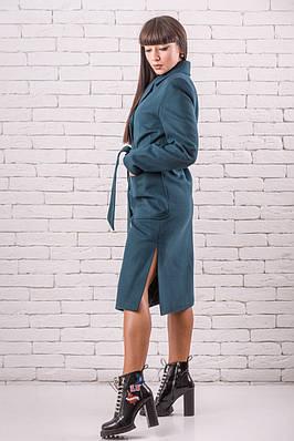 Весеннее пальто женское  молодежное  48-50 бирюзовый