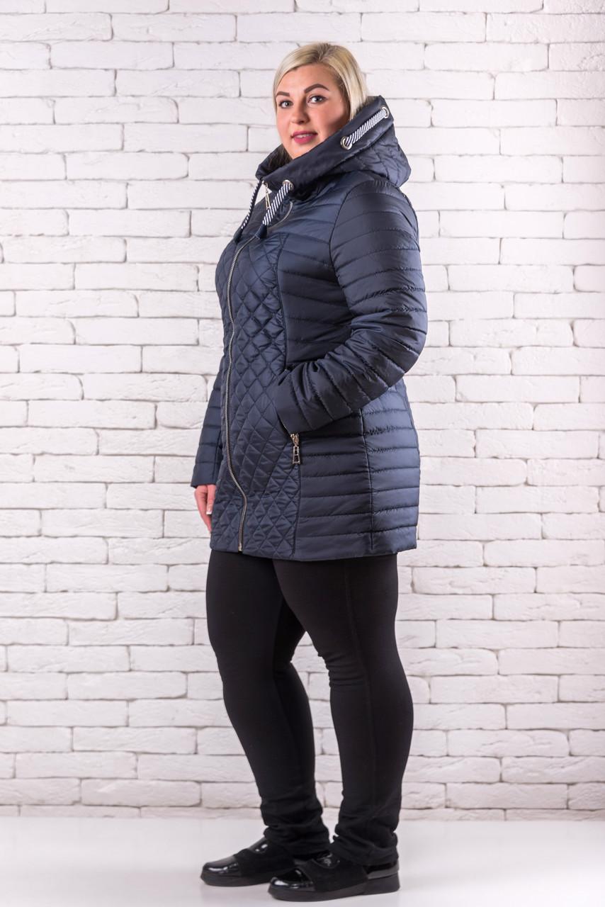 Женская демисезонная куртка  большого размера  52-58 изумруд