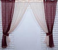 Комплект кухонные шторки с подвязками №17 Цвет Бордовый с персиковым, фото 1