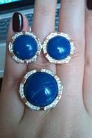Серебряный комплект кольцо + серьги со вставками золота