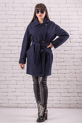 Женское демисезонное пальто  красивое  44-50 темно-синий