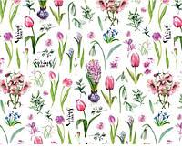 """Подарочная бумага для упаковки """"Весенние цветы"""", 5 шт/уп"""