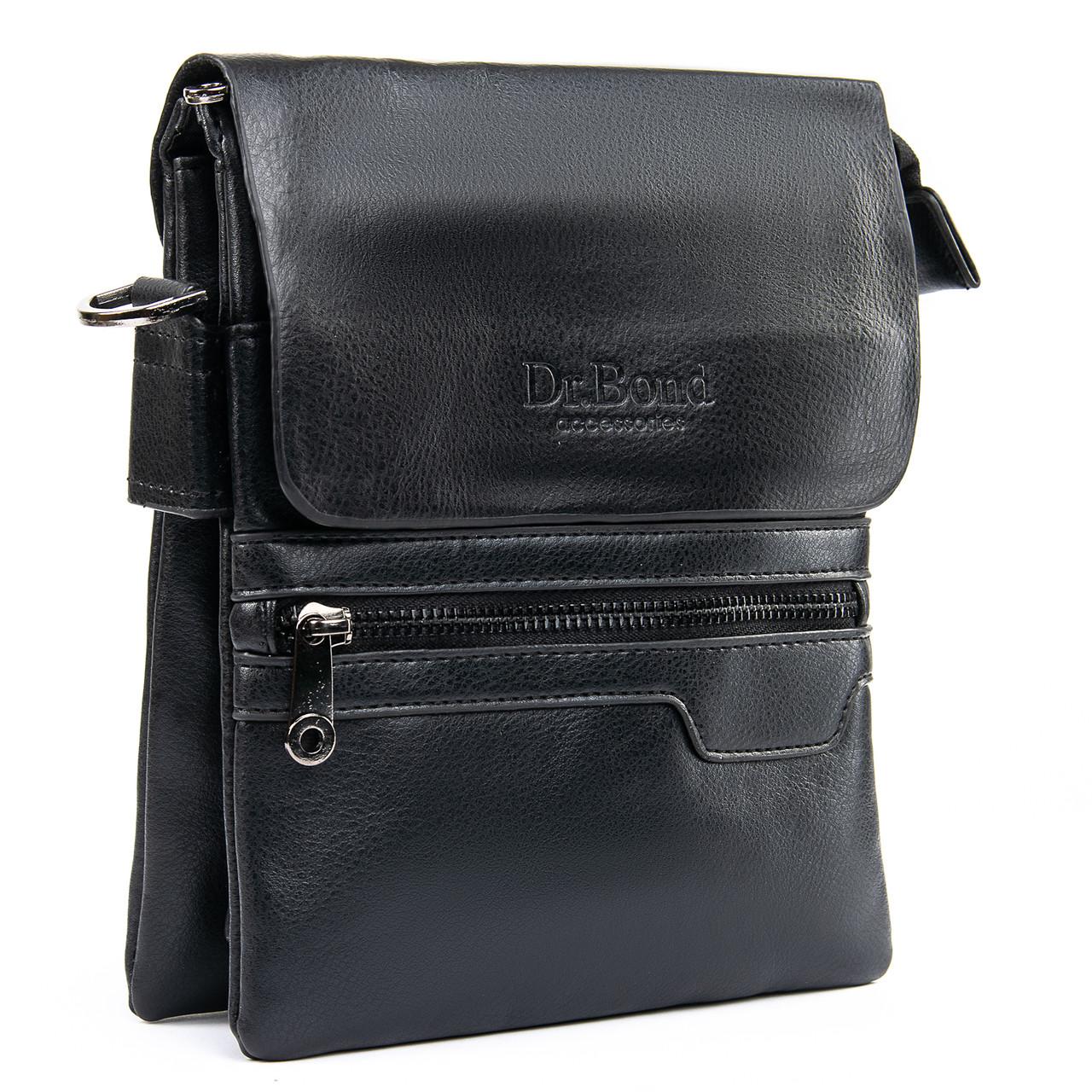 Чоловіча сумка-планшет штучна-шкіра чорна DR. BOND GL 303-2 чорна