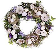 Декоративный пасхальный венок, цвет - пурпурный, 31см 814-904