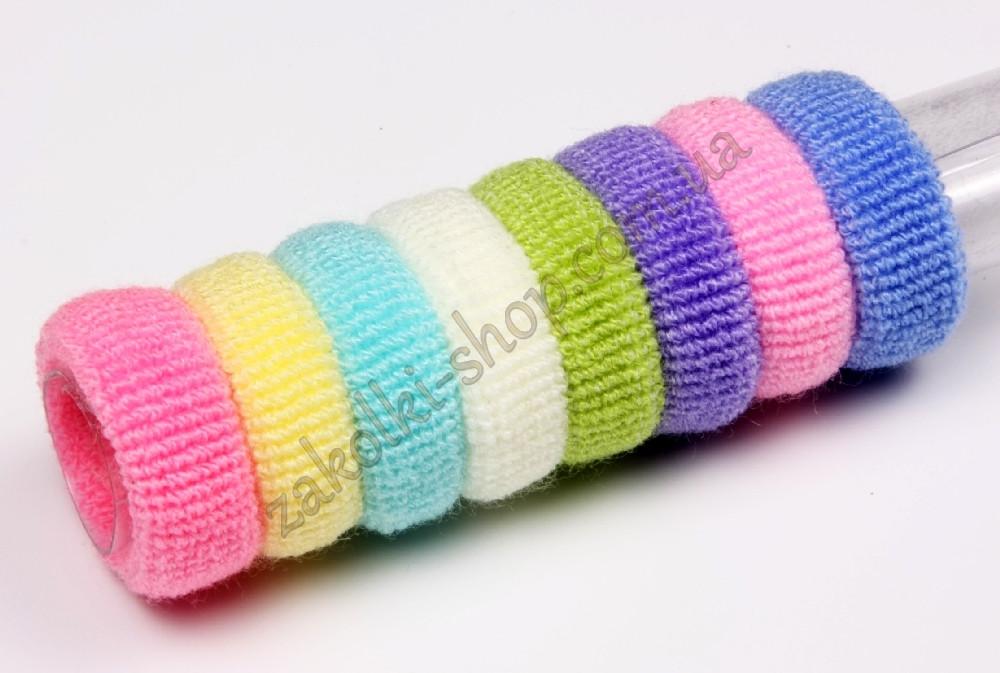 """Резинка махровая """"Барби"""" робок маленькая цветная пастельная, диаметр: 3 см, высота: 1 см, 50 шт в упаковке"""