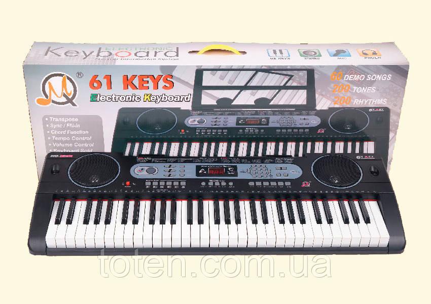 Пианино синтезатор 61 клавиша. 200 ритм, 200 тон, 60 демо. Микрофон, блок пит, подставка для нот MQ6130