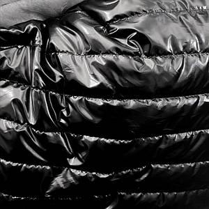 Плащевка стеганная на синтапоне черная лакированная полоска 5см