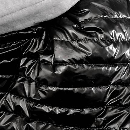 Плащевка стеганная на синтапоне черная лакированная полоска 5см, фото 2