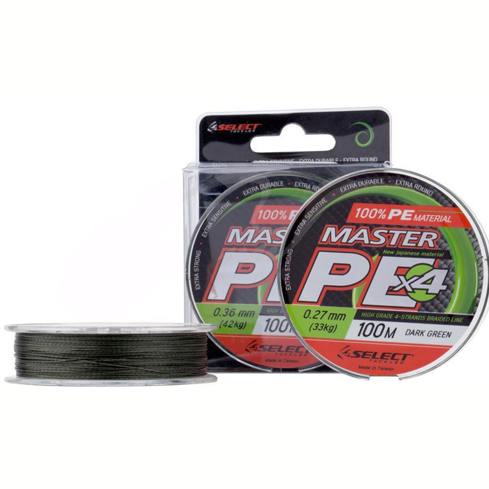 Шнур Select Master PE 100m 0.36 мм 42кг темн.-зел.
