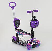 """Самокат Scooter 5 в 1 """"Розовые Орхидеи"""". Все колёса светятся!, фото 1"""