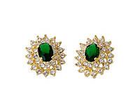 Серьги «Изумрудная Элегантность» с зеленым камнем  напыленные золотом 750 пробы, купить