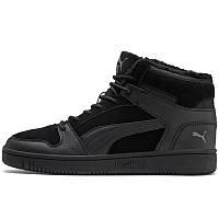 Ботинки-кеды мужские Puma Rebound LayUp SD Fur 369831 01 (черные, зимние, с мехом, замша, теплые, бренд пума)