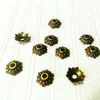 Шапочки для бусин, цветок, бронза, 10 шт