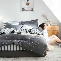 Комплект Постельного Белья Сатин Двуспальный Темно-Серый 180х220 (BS-102)