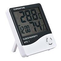 🔝 Термометр гигрометр с часами и будильником HTC-1, , Термометри, гігрометри, метеооборудование