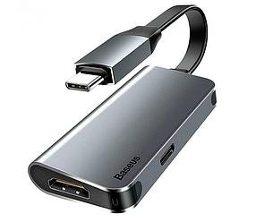 Адаптер-переходник Baseus Little Box (CAHUB-E0G) Type-C to HDMI+Type-C Smart HUB Converter серый