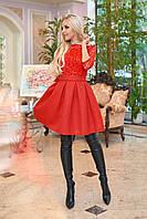 Пышное коктейльное платье, красное