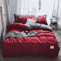 Комплект Постельного Белья Сатин Двуспальный Бордовый 180х220 (BS-105)