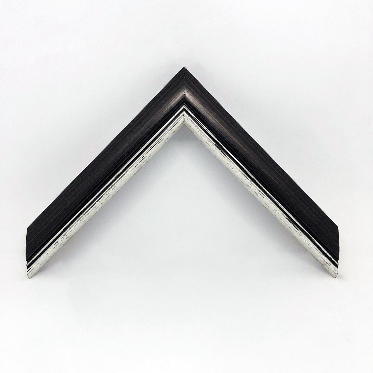 Багет дерев'яний чорний з сріблом