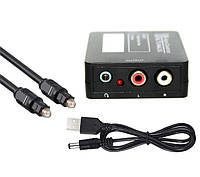 ЦАП Аудио конвертер декодер звука цифрового с оптического аудиовыхода на тюльпаны переходник под наушники, фото 1