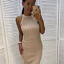 Платье резинка трикотажное с золотыми пуговицами, фото 3