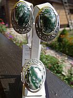 Набор серебряный с агатом моховым, фото 1