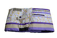 Простынь с подогревом, электропростынь 150х120 см. - Бело-фиолетовая с цветами Трио   🎁%🚚, Электропростыни и одеяла с подогревом