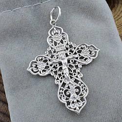 Серебряный крест Православный Спаси и Сохрани с родированием размер 45х29 мм вес 2.89 г