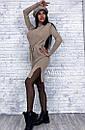 Платье трикотажное прямого кроя под горло с разрезами по бокам, фото 2