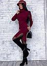 Платье трикотажное прямого кроя под горло с разрезами по бокам, фото 4