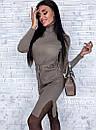 Платье трикотажное прямого кроя под горло с разрезами по бокам, фото 5