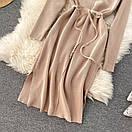 Платье трикотажное прямого кроя под горло с разрезами по бокам, фото 10