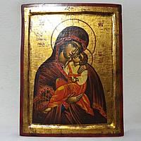 Греческая икона на дереве Божья Матерь