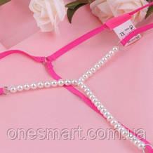 Розовые пикантные стринги украшены жемчугом