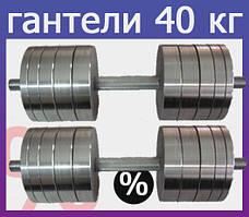 Гантелі 2 по 40 кг розбірні сталеві. Сталеві гантелі