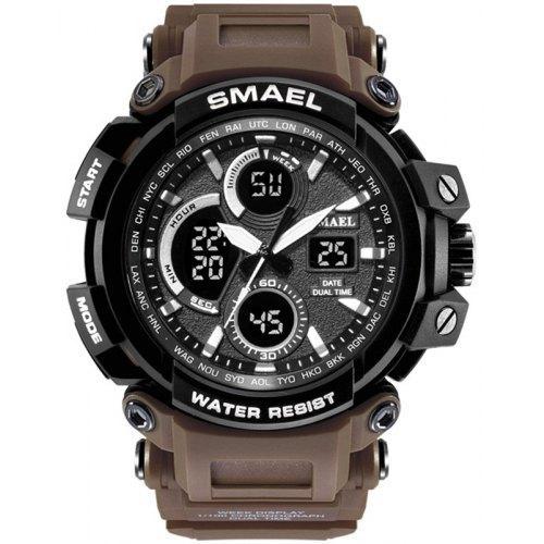 Smael 1708 кофейные мужские спортивные  часы