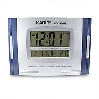 🔝 Электронные часы Kadio (KD-3809N), Синие, настенные цифровые часы, с большим экраном , Электронные настольные часы