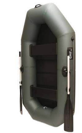 Лодка пвх надувная двухместная Grif boat G-240 поворотные уключины и настил сланевый, фото 2