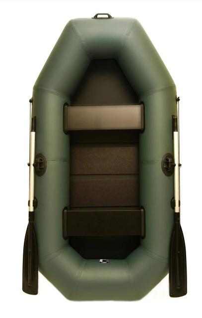 Лодка пвх надувная двухместная Grif boat G-240 поворотные уключины и настил сланевый