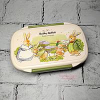 Ланчбокс Зайчики кролики, ланч бокс, контейнер для еды, зеленый