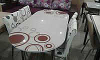 """Розкладний обідній кухонний комплект овальний стіл і стільці """"Червоні кола"""" ДСП гартоване скло 75*130 Лотос-М"""