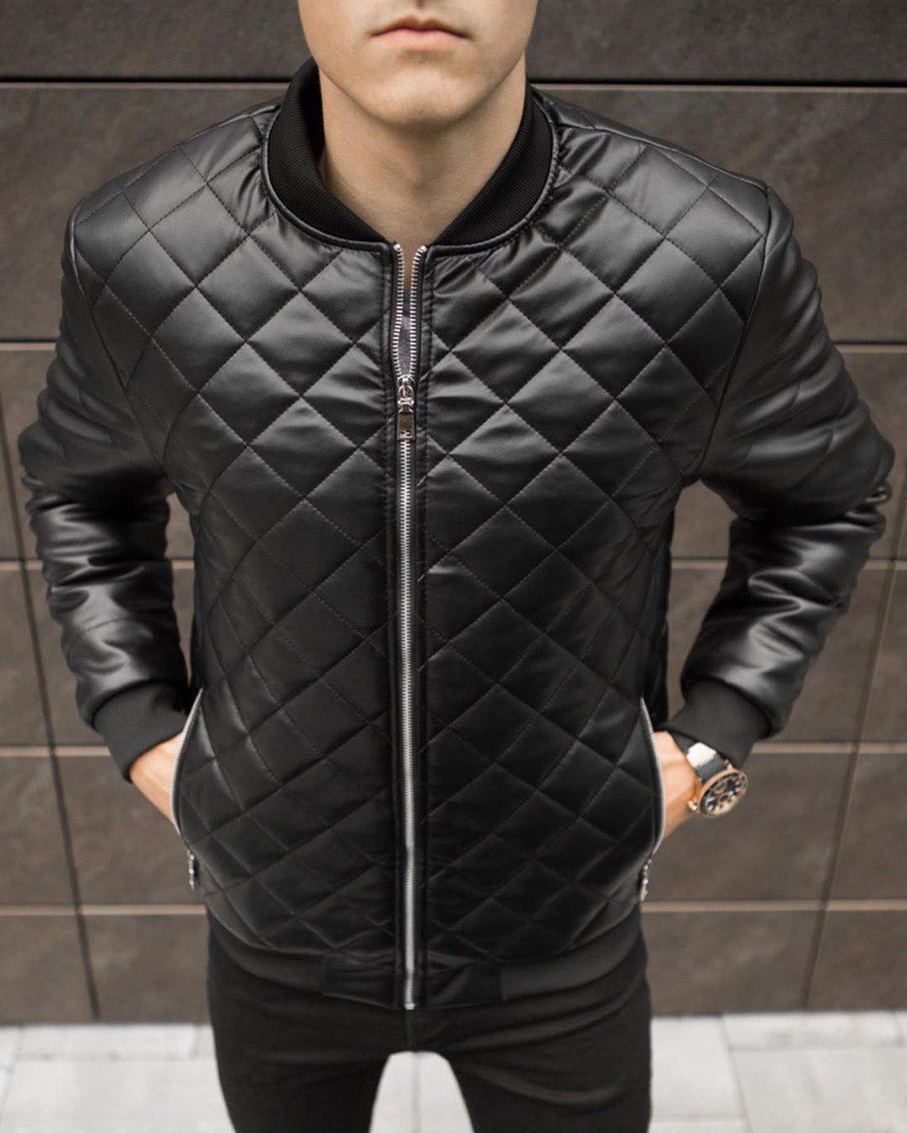 Чоловіча куртка. Шкіряний бомбер.