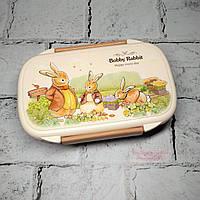 Ланчбокс Зайчики кролики, ланч бокс, контейнер для еды, коричневый