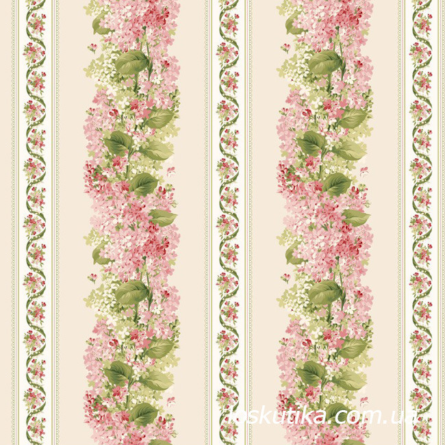 53018 Весенняя мелодия (орнамент). Ткань  с цветочным принтом. Американский хлопок.